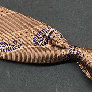 Kiton 7 FOLD Brown Paisley 100% Silk Tie